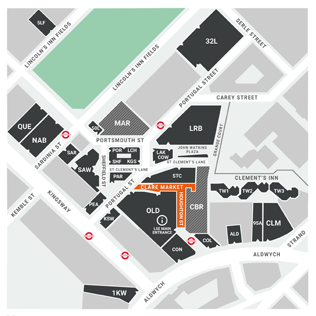 An illustration of a map showing LSE buildings. LSE campus map