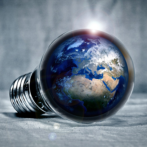 Image of earth in a light bulb