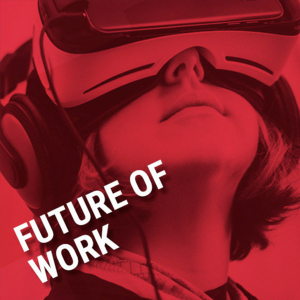 Image of a women wearing a virtual reality headset with the words future of work