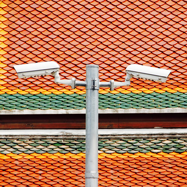 Image of two security cameras