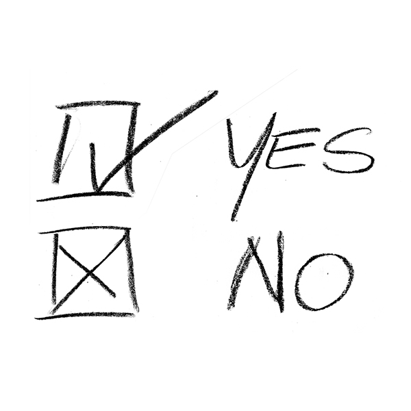 Image of yes and no checked on a white piece of paper, hand-written