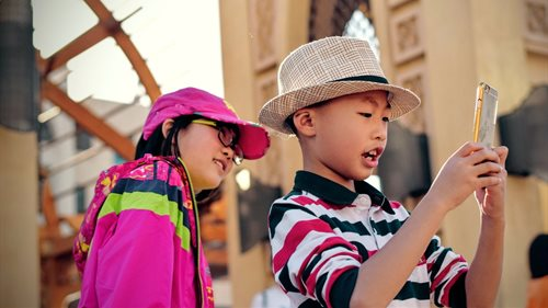 Asian kids with smartphone