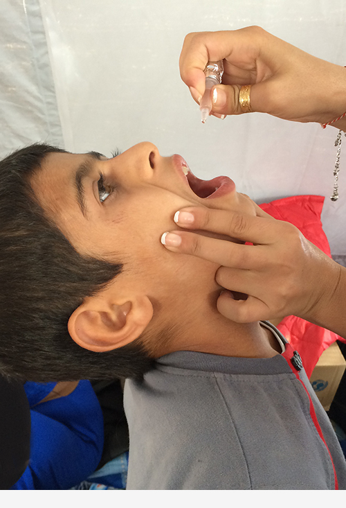 IDP child getting medicine