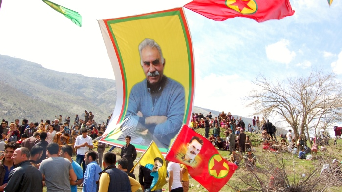 Poster of Abdullah Ocalan at Kurdish protest