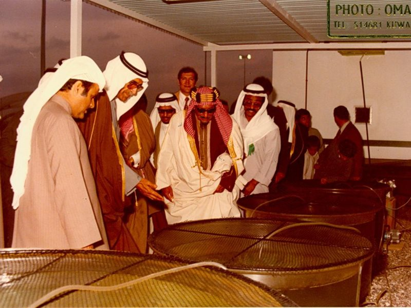 Shaikh Abdullah Jaber Al-Sabah during his visit to KISR (MFD) in the early 1980's, monitoring the fisheries aqua-culture programme.