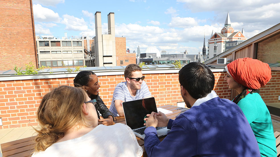 Student study group on the roof of the SU