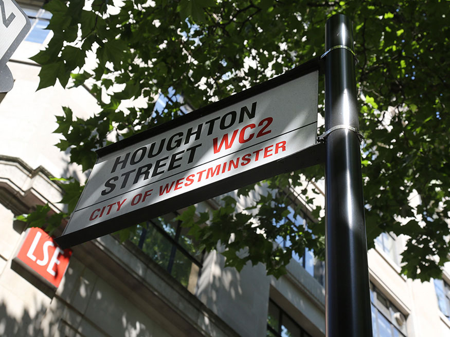 Houghton Street sign post on the LSE campus
