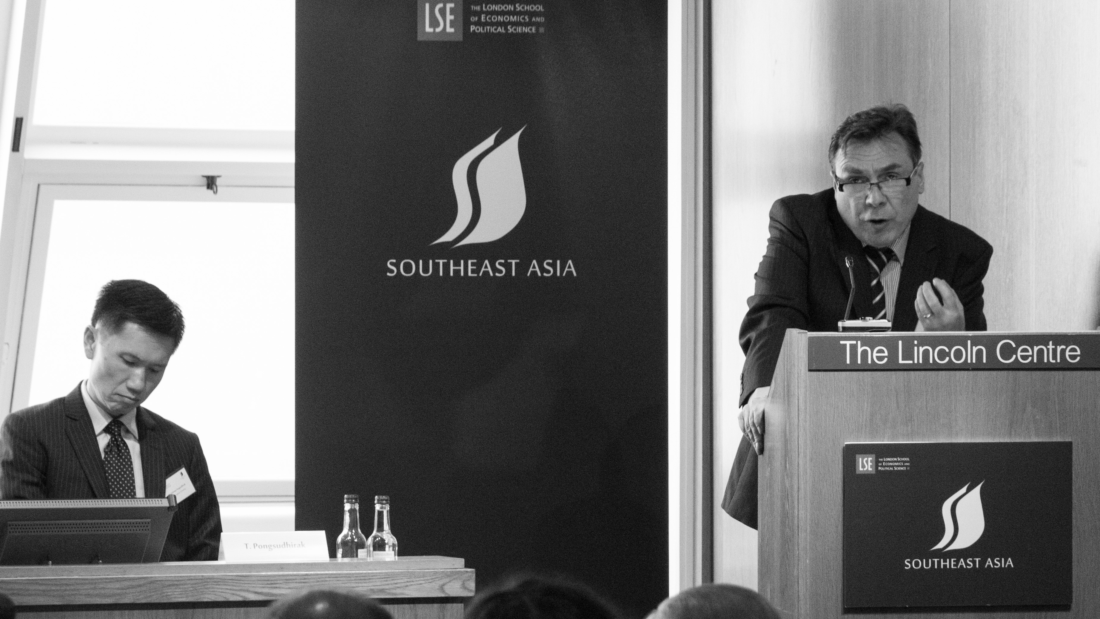 Two speakers on stage at the LSE Southeast Asia Forum 2016
