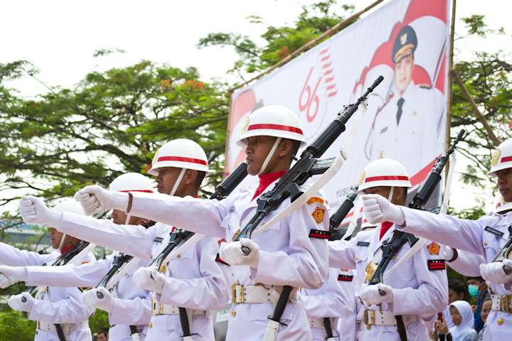 Indonesian soldiers marching in uniform