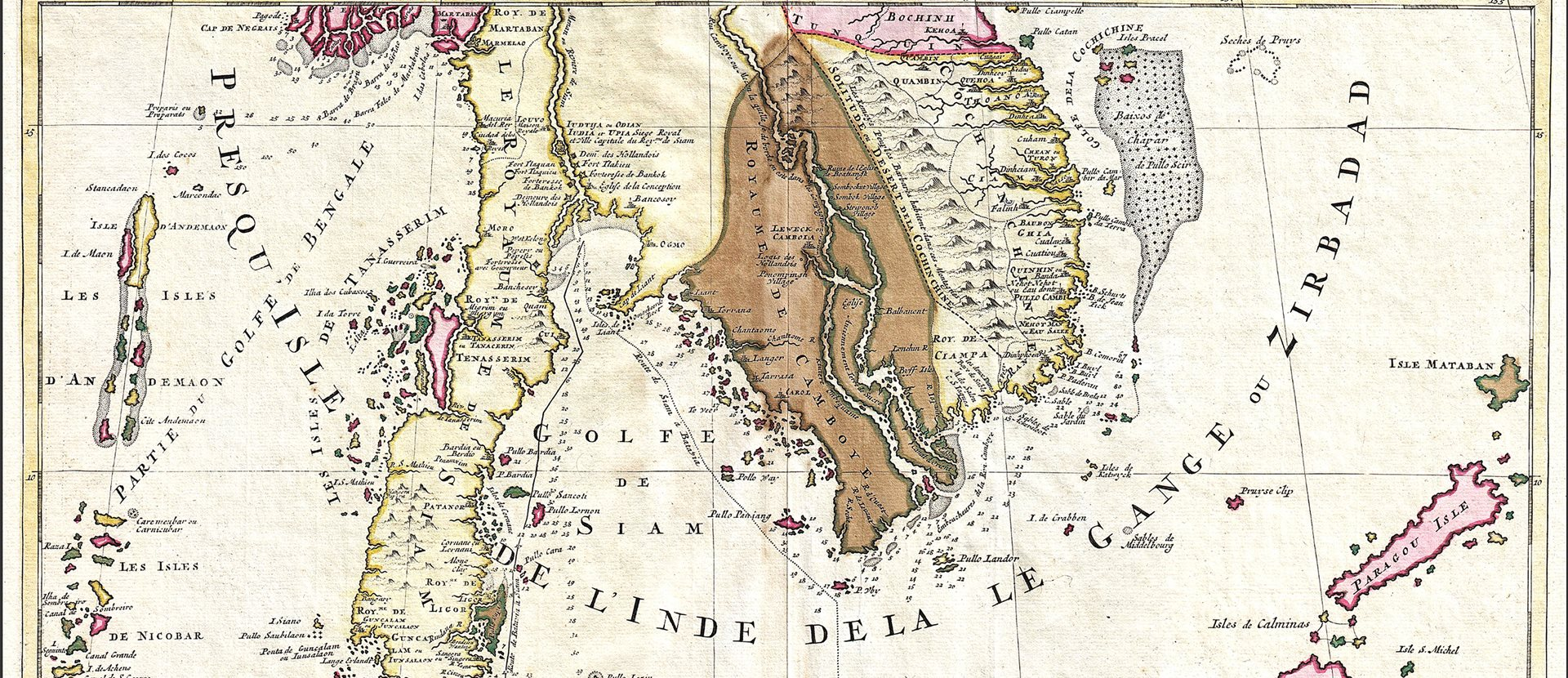 A coloured map from 1710 of the Southeast Asia region