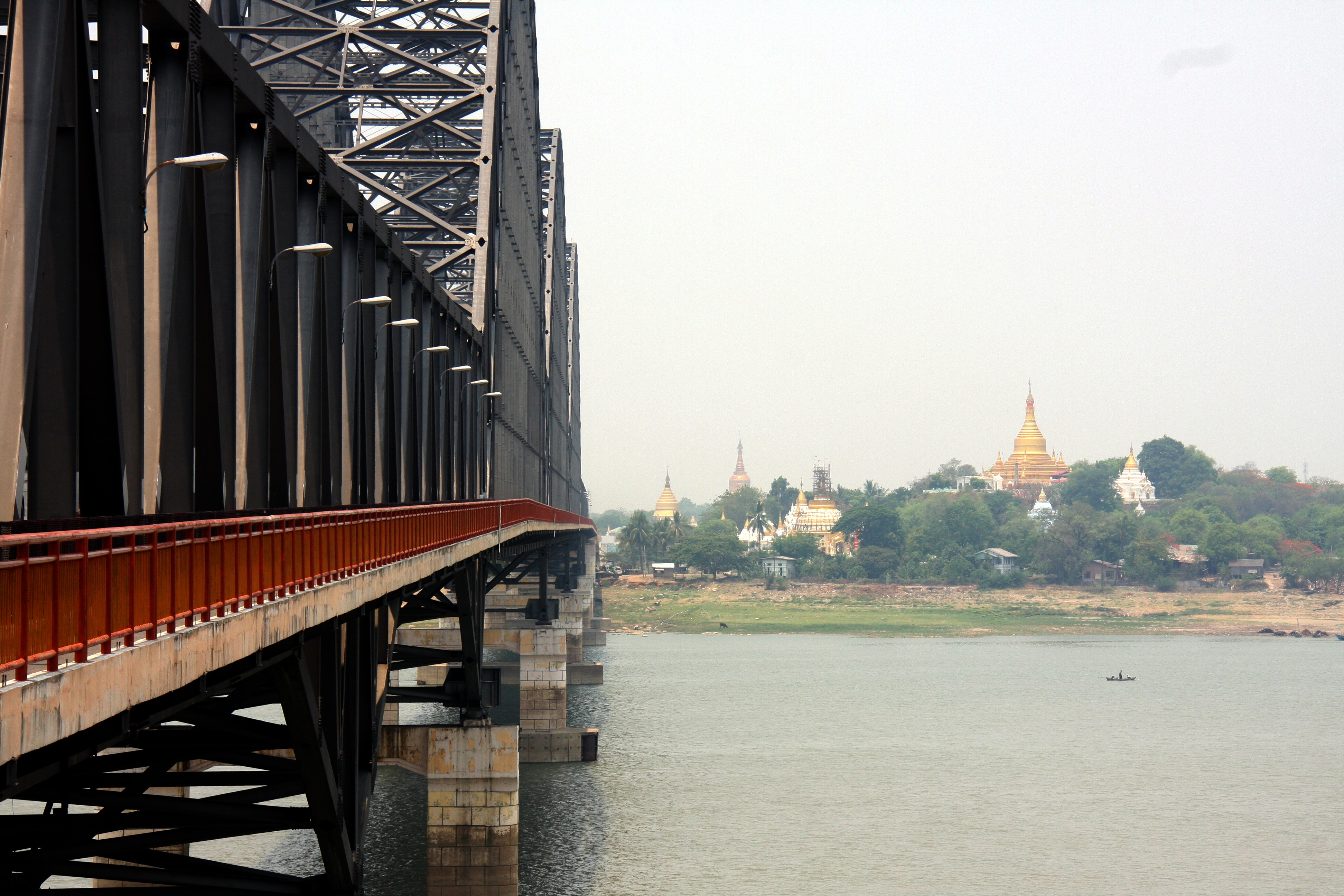 The side of a bridge leading to Myanmar's mainland