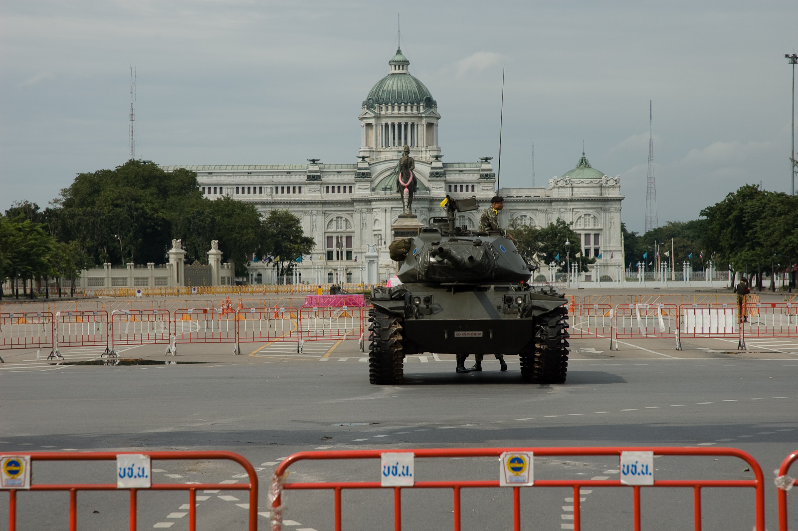 A tank outside a parliament building in Bangkok