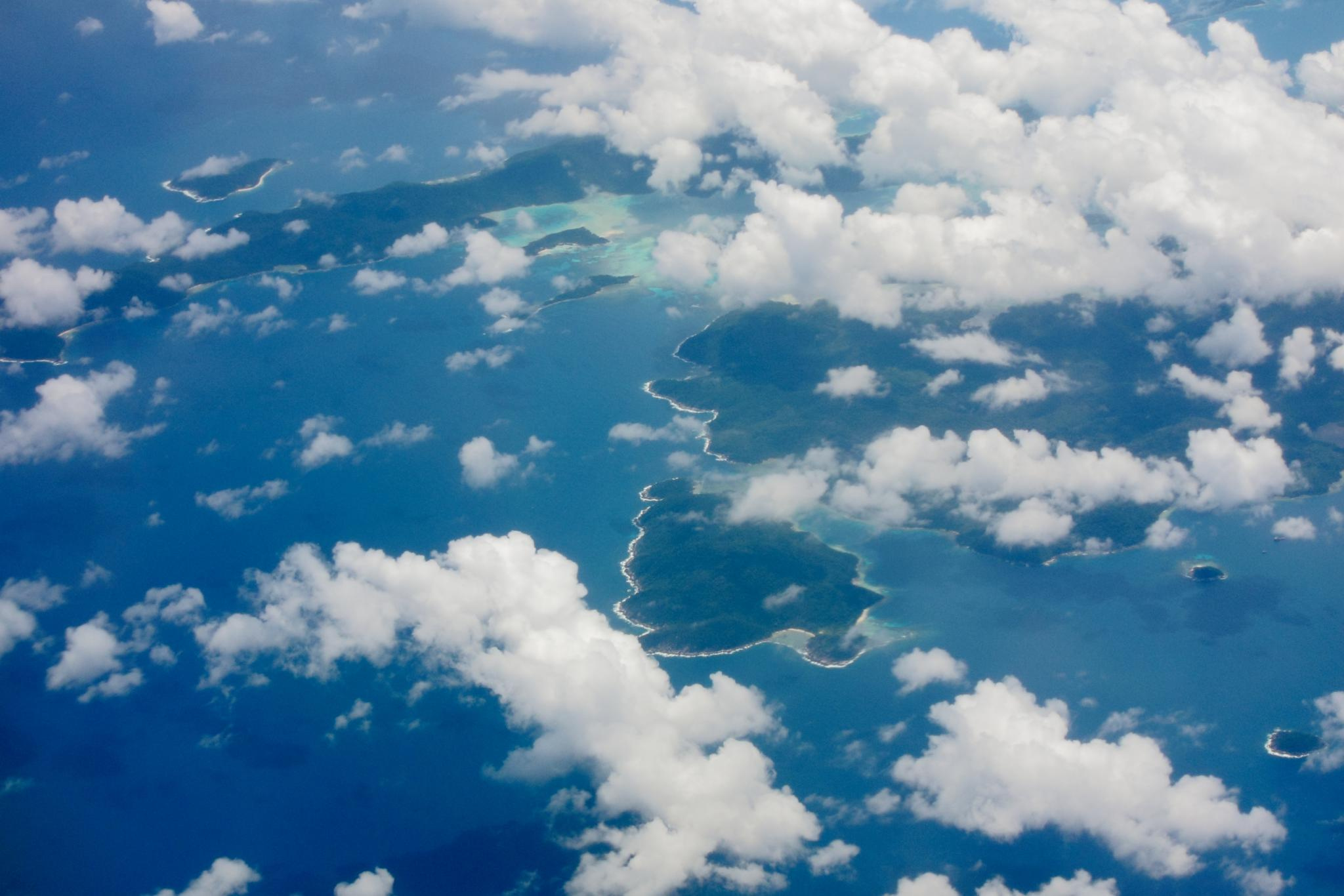 An aerial view onto clouds over the South China Sea