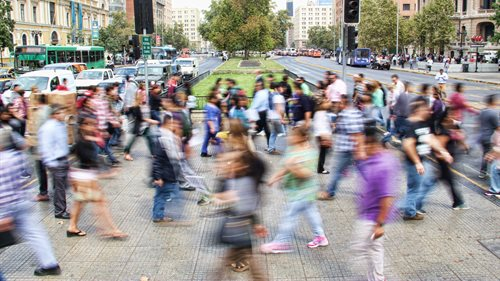 People walking in Chile