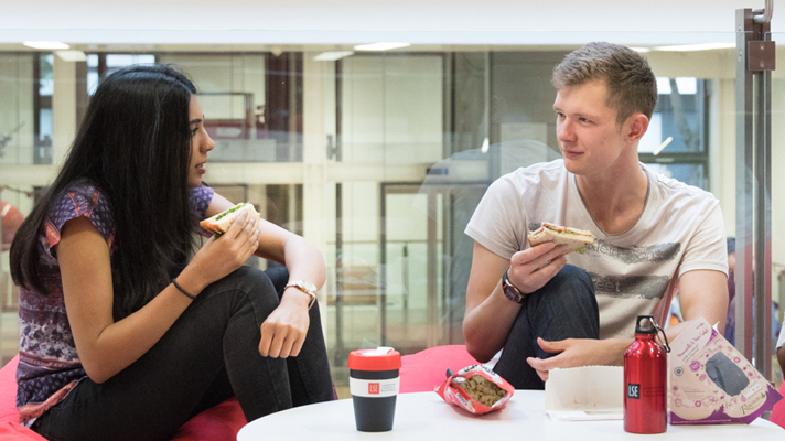 Students eat lunch in LSE's New Academic Building