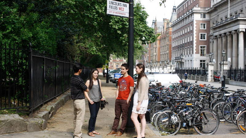 Students talk by Lincoln's Inn Fields