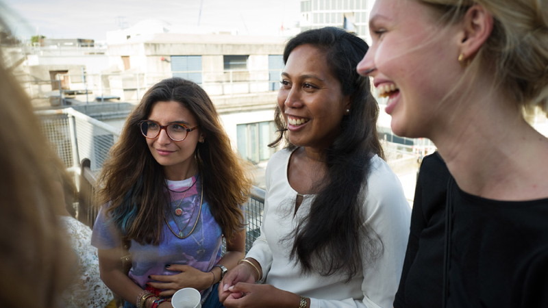 Students on roof terrace
