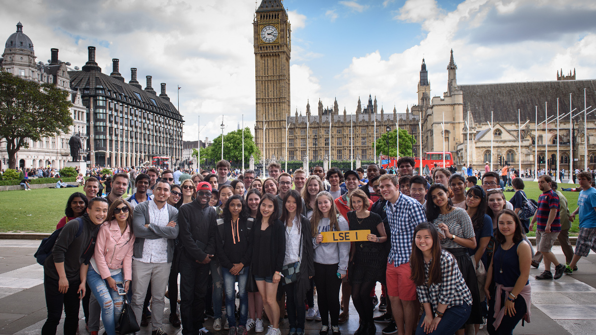 Social programme tour group photo in front of Westminster