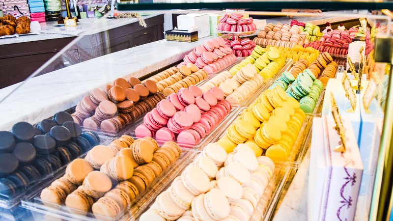 Macaroons in a London restaurant