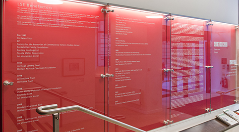 Red benefactors board showing the names of those who have given to LSE
