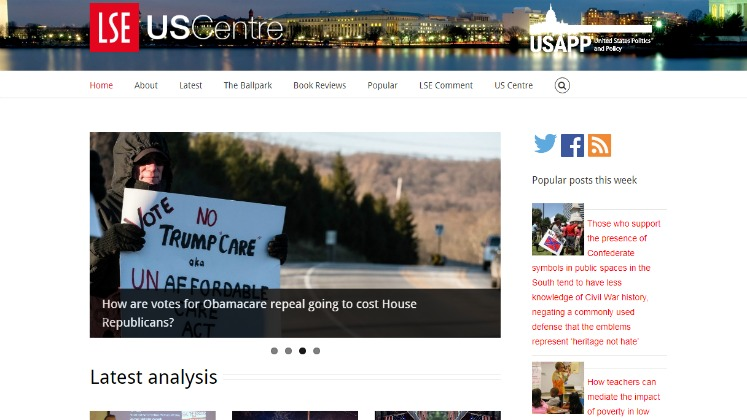 The homepage of the US Centre's USAPP blog
