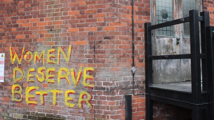 'Women Deserve Better' graffiti. Image by Devon Buchanan.
